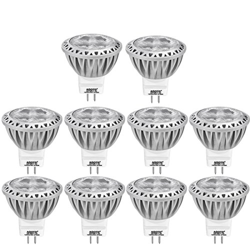 AGOTD GU4 MR11 12V Led-lampen - 2700K Warmwit, 35 mm Diameter 1,38 x 1,49 inch LED-spots, 250LM 3W Ledlampen Vervangt 20W 30W 35W Halogeenlampen, Niet Dimbaar, Pakket van 10