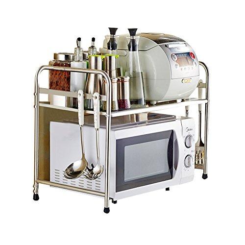 x 36 x 42 cm Bianco con 6 Ganci DoubleBlack Ripiano Microonde Mensola per Microonde Cucina Scaffale Porta Fornetto Salvaspazio Metallo 43-65
