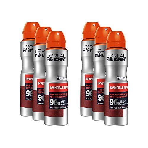 L'Oréal Men Expert Invincible Man Déodorant Sportif, Protection 96H, Contrôle la Sécheresse et les Odeurs Corporelles, 150 ml, Lot de 6