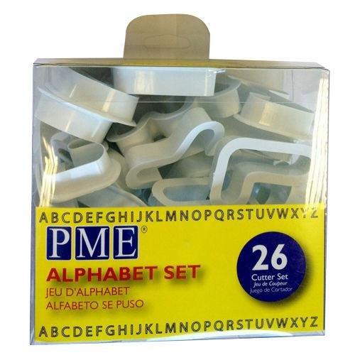 PME AN300 JEM Alphabet-Ausstecher zum Dekorieren von Zuckerarbeiten und Kuchen, Sortiment, 26-teilig, Kunststoff, Ivory, 5 x 1.3 x 5 cm
