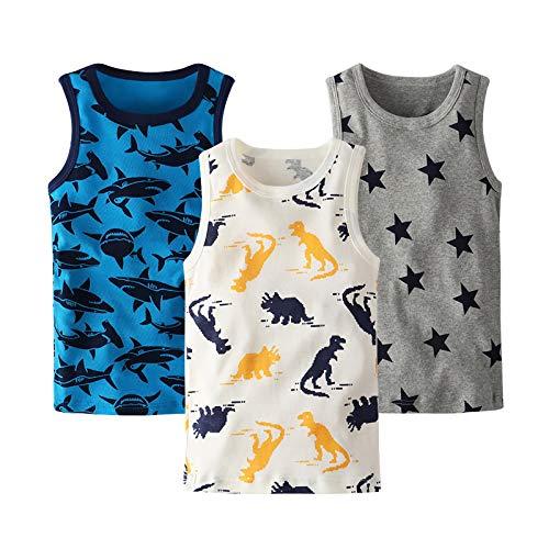 Coralup - Camiseta interior sin mangas para niños y niñas, 100% algodón, diseño de dinosaurio, 3 unidades, cómoda, transpirable, de 12 meses a 13 años Dinosaurio 2 5-6 Años