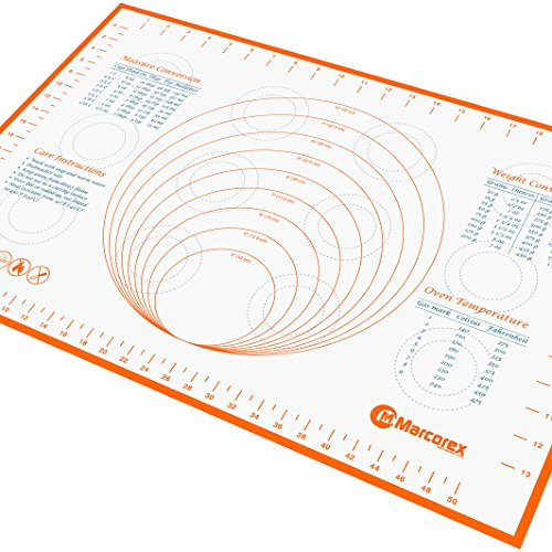 Marcorex Pastry Mat Large with Measurements and Conversion Charts, Professional Size, Non-Stick Non-Slip, Extra-Large Silicone Fondant Mat, Cookie Rolling Dough Mat
