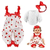 Reborn Girl Baby Dolls Clothes - 20-22 Inch Strawberry Cute Reborn Doll Dress with Headband Accessories - Baby Doll Clothing Sets - New Born Dolls Outfits - 22 Inch Reborn Doll Clothes Girls Kids Gift