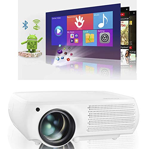 Native 1080p Android Projector, Gzunelic 7000 Lumens Smart WiFi Bluetooth Projector ± 50° 4D Keystone X / Y Zoom 10000:1 Contrast, Home Theater LED Video HD Proyector Wireless Mirror for iPhone