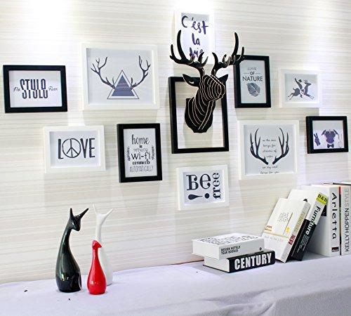 Bois massif sur le mur la mural créative photo Décoration Murale elkdassschwarz et blanc + noir/blanc photo cœur + la tête de cerf