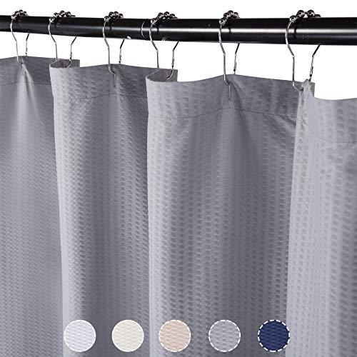 LinTimes Duschvorhang Textil Duschvorhäng Wasserdicht Badvorhänge aus Polyester Waschbare 182x200cm,Grau
