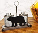 "Ebros Gift 7"" Tall Galvanized Metal Western Rustic Forest Black Bear Glass Salt Pepper Shakers Carrier Organizer Holder Old Fashioned Farm Ranch Kitchen Dining Decorative Centerpiece Figurine"