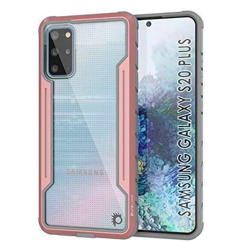Punkcase Galaxy S20 Plus Case [Avenger Defense Series] Protective Military Grade Multilayer Cover W/Aluminum Frame [Clear Back] Ultimate Drop Protection for Your S20 Plus (6.7')(2020)(Rose-Gold)