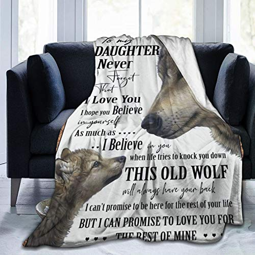 AIBILEEN Wolf to My Daughter Never Forget That I Love You Flannel Blanket Animal Blanket Occupies The Home Bedroom Fashionable Sitting Room Sofa Warm Blanket 60'x50' for Teens