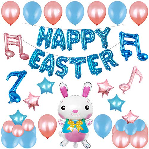 TQSDYY Easter Rabbit Party Balloons,Easter Balloon Set Cartoon Bunny Theme Balloon Package Party Decoration Scene Decoration Supplies Decoration Ball,Blue