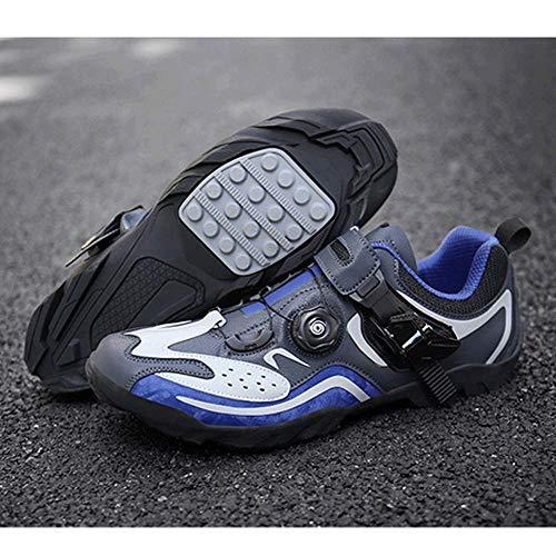 FACAI Zapatillas De Ciclismo Zapatillas De Bicicleta Zapatillas De Triatlón Racing Zapatillas De Ciclismo De Montaña para Hombre Zapatillas De Ciclismo De Montaña MTB,Blue-46
