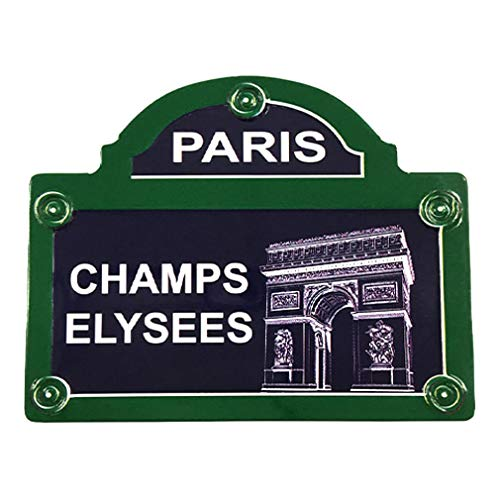 Souvenirs de France – Imán de metal París placa de calle 'Champs-Elysees' – Azul