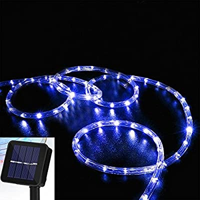 Solar Rope Lights, DINOWIN 39ft/12M 100LED Waterproof Copper Tube Wire String Lights for Garden,Yard, Path, Fence, Stairs, Backyard, Patio Decorative