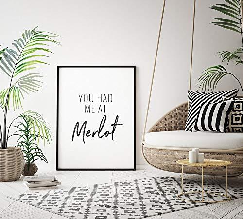 Printable Art Je had me bij Merlot Typografie Poster Wijn Pun Inspirationele Keuken Quote Muur Kunst