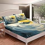 Juego de sábanas japonesas Hokusai para niños, niñas, olas de mar, juego de ropa de cama para surf, ondulación, decoración de habitación, 3 piezas, tamaño doble