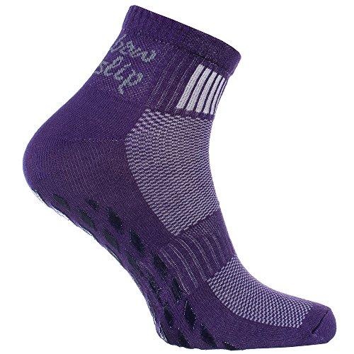 1 Paar violett Anti-Rutsch-Socken mit ABS-System, perfekt für solche Sportarten,wie Joga,Fitness,Pilates,Kampfkunst,Tanz,Gymnastik,Trampolinspringen.Größen von 44 bis 46,atmende Baumwolle
