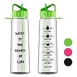 Aruny Wasserflasche (900ml / 32oz) auslaufsicher Motivierende Stroh Sport Wasserflasche (Grün)