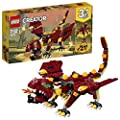 LEGO 31073 Creator 3in1 Mythical Creatures Dragon, Giant Spider and Troll Action Figures Model Building Set, Toys for Kids 7-12 Years Old