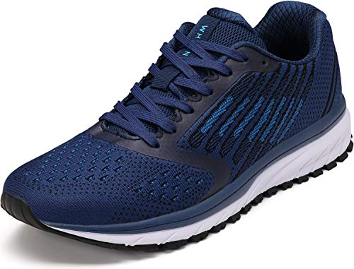 JOOMRA Men's Tennis Shoes Lace up Walking Trail Running Size 11 Blue Gym Comfortable Fashion Cushion Footwears for Man Breathable Athletic Sneakers
