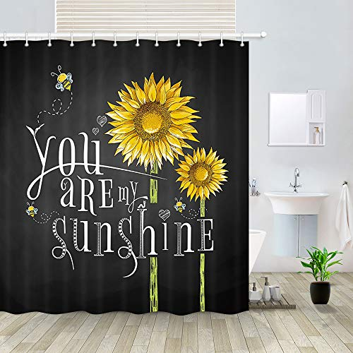 DYNH Country Sunflower Shower Curtain, Rusitc Flowers and Inspirational Text You are My Sunshine on Blackboard Bath Curtains, Polyester Fabric Bathroom Shower Curtain 12PCS Hooks (69'' W by 70'' L)