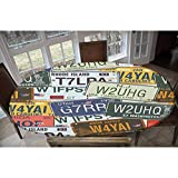 Vintage Elastic Polyester Fitted Table Cover,Original Retro License Plates Personalized Creative Travel Collections Art Decorative Oblong/Oval Elastic Fitted Tablecloth,Fits Tables up to 48