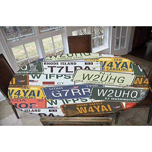 Vintage Elastic Polyester Fitted Table Cover,Original Retro License Plates Personalized Creative Travel Collections Art Decorative Oblong/Oval Elastic Fitted Tablecloth,Fits Tables up to 48' W x 68' L