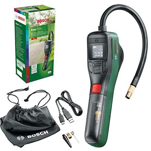 Bosch Home and Garden 0603947000 Bosch EasyPump - Mini compresor eléctrico (batería de 3,0 Ah, 3,6 V, función de Parada automática, 150 PSI, 10,3 Bar, LED, Recargable Mediante USB-C, en Caja)