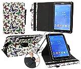 Emartbuy® Point of View Mobii Onyx Tab I847 8 Zoll Tablet Universal (7-8 Zoll) Mehrfarbig Schmetterlinge 360GradrotierendeStandFolioGeldbörseTascheHülle + Schwarz Eingabestift