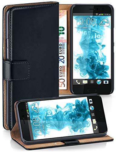 MoEx® Booklet mit Flip Funktion [360 Grad Voll-Schutz] für HTC U11   Geldfach & Kartenfach + Stand-Funktion & Magnet-Verschluss, Schwarz