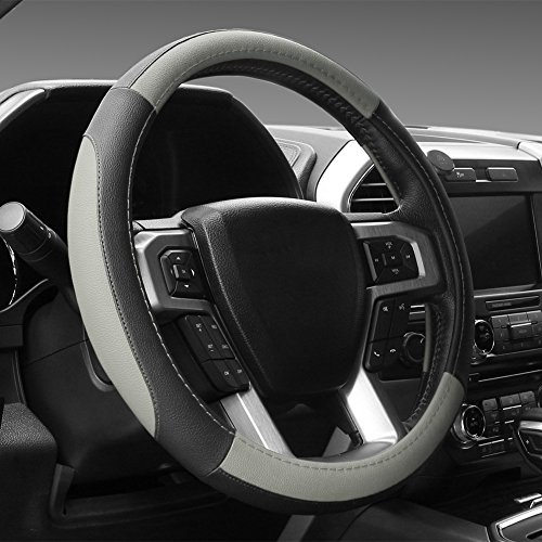 """SEG Direct Black and Gray Microfiber Leather Steering Wheel Cover for F-150 Tundra Range Rover 15.5"""" - 16"""""""