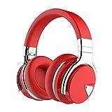cowin E7 Auriculares Inalámbricos Bluetooth con Micrófono Hi-Fi Deep Bass Auriculares Inalámbricos sobre El Oído, Almohadillas de Protección Cómodo, 30 Horas de Tiempo de Juego para Viajes (Rojo)