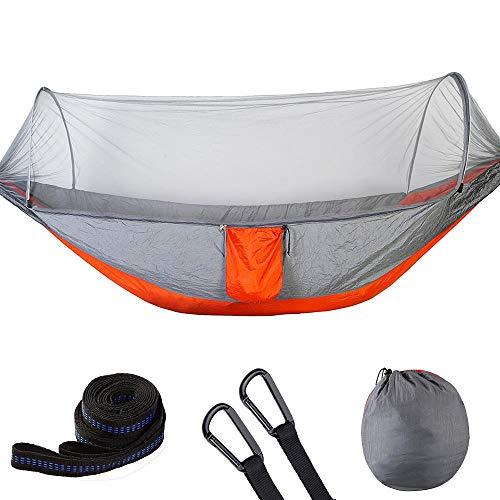 Campinghangmat met klamboe, lichtgewicht dubbele draagbare campingreishangmat Hangbed met klamboe Hangmat voor binnen, buiten, wandelen(Grijs + oranje)