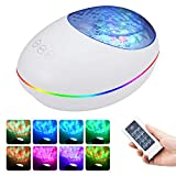 Rechargeable Night Light, Kuniwa Ocean Wave Projector with Remote Control, 7 Color Modes & 8 Ambient Nature Tunes, Star Light Projector for Kids Adults Bedroom Living Room (White)