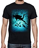 latostadora - Camiseta Buceo para Hombre Negro 3XL