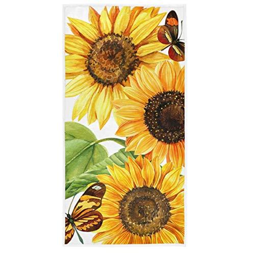 MCHIVER Handtücher für das Badezimmer, Baumwolle, Sonnenblumen und Schmetterlinge, Badetücher, Workout-Handtuch, weich, sehr saugfähig, Handtücher für Camping, 38,1 x 76,2 cm
