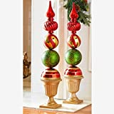 BrylaneHome Ornament Topiary Statue, Red Green Gold