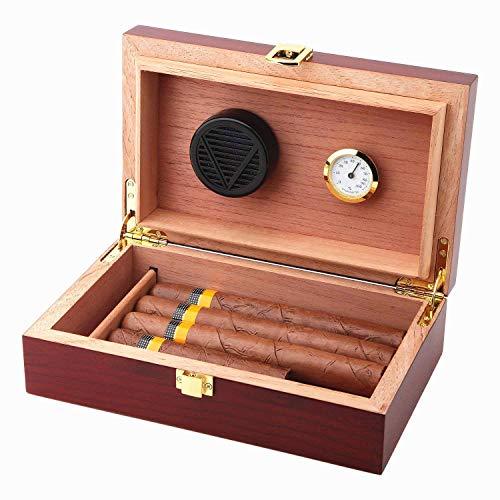 Handmade Cigar Humidor Cigar Box Wood Humidor Holds 10-20 Cigars Desktop Box Humidor with Hygrometer and Humidifier Front-Mount Clasp Lock