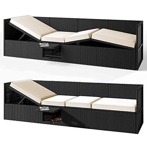 Deuba Poly Rattan Lounge Liege Mit Sonnendach 7cm Dicke Auflagen Klapptisch Schwarz Sonnenliege Gartenliege Garten Sofa - 5