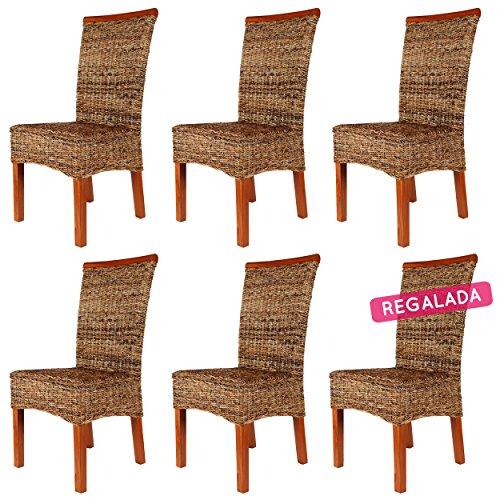 Rotin Design REBAJAS : -70% Lote 6 sillas de ratan Malibu marrones sillas para comedor