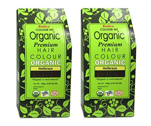 Radico Hellbraun 2er-Pack Colour Me Organic Pflanzenhaarfarbe (bio, vegan, Naturkosmetik) Hellbrx2
