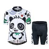 Kids Cycling Jersey Set Cartoon Short Sleeve Bike Top for Boy Girl with 3D Padded Shorts Panda Size M