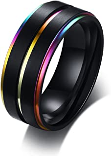 XUANPAI 8mm Custom Engraved Stainless Steel Two-Tone Rainbow Inlay Edge Dome Brushed Promise Couples Rings