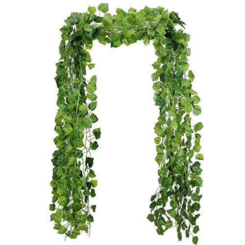 RAUVOLFIA 118 Ft - 12 Pack Artificial Fake Hanging Vine Plants Leaves Greenery Garlands for Wedding, Party, Wall,Patio or Yard Decoration, Perfect as Fence Privacy Screen (Grape Leaves)