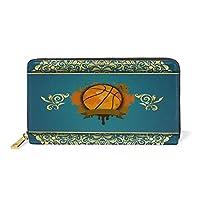 かわいいバスケットボール 財布 本革 レディース ジッパー ウォレット 長財布 クラッチ ロング コイン ケース