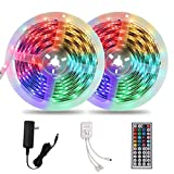 Waterproof 32.8ft 10m Dimmable LED Strip Lights, Flexible RGB Color Changing, 300 5050LEDs Light Strips Kit with Remote Controller for Outdoor & Indoor DIY Decoration, ETL Listed
