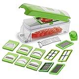 Chips pour hachoir à légumes | Trancheuse à aliments lames interchangeables avec récipient alimentaire pour chips de pommes de terre, tomates, oignons, salade de fruits 15 en 1