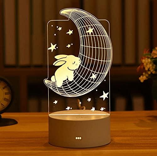 1Pcs Regalo Del Día De San Valentín Amor 3D Acrílico Conejo Luna Lámpara Led Luz De Noche Regalo De Boda Oso Rosa Presente Decoración De Pascua 10Cm × 18Cm