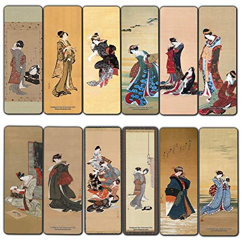 Creanoso Katsushika Hokusai Japanese Ladies Bookmarks (12-Pack) - Awesome Bookmarks for Men, Women, Teens – Six Bulk Assorted Bookmarks Designs – Japan Art Impressions Design – Cool Art Paints
