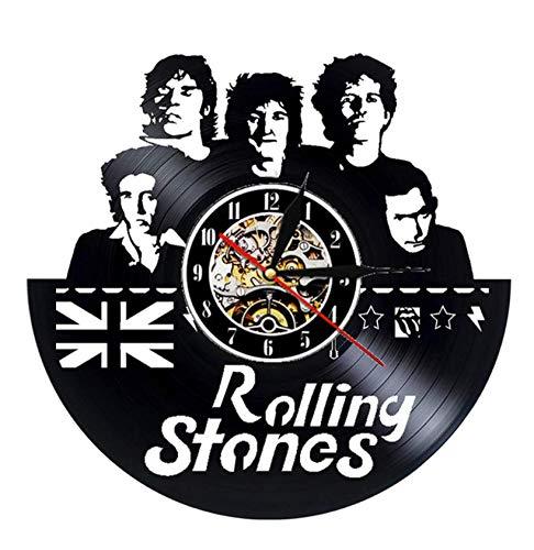 """XZXMINGY Disco de Vinilo Reloj de Pared Diseño Moderno Tema de la música The Rolling Stone Band Relojes Colgantes Reloj de Pared Vintage Decoración para el hogar Silencioso 12 12""""/30cm"""