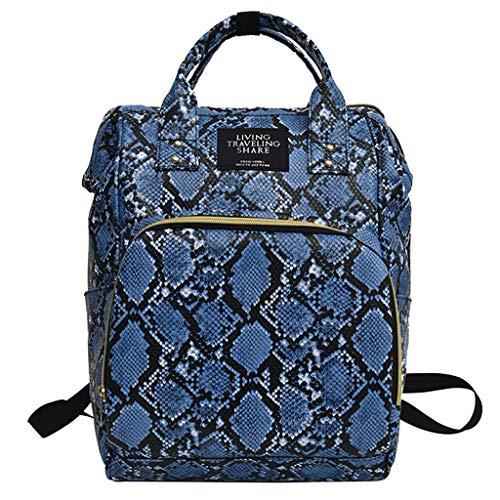 YWLINK Mochilas Mujer Casual Mummy Bag Nappy Bottle Bag Serpentine Bolsa De Viaje Mochila Bolsa De EnfermeríA Bolso De Mano Handbag Moda Casual Gran Capacidad Mochila Escolar(Azul)